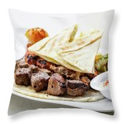 Middle Eastern Food Mixed Bbq Barbecue Grilled Meat Set Meal Throw Pillow