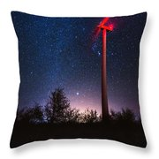 Milky Way Over The Wind Turbine Throw Pillow