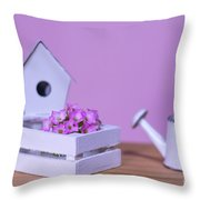 Miniature Gardening Kit With Pink Background Throw Pillow
