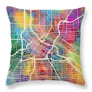 Minneapolis Minnesota City Map Throw Pillow