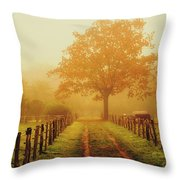 Misty Autumn Morning Throw Pillow