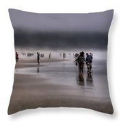 Misty Beach Throw Pillow