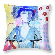 Model In Blue Throw Pillow