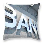 Modern Bank Building Signage Throw Pillow