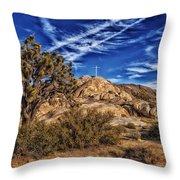 Mojave Memorial Cross And War Memorial Throw Pillow