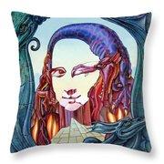 Mona Lisa. Fire Throw Pillow