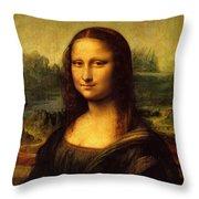 Mona Lisa Portrait Throw Pillow