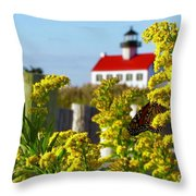 Monarch At East Point Light Throw Pillow