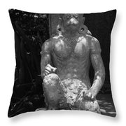 Monkey In Black And White Throw Pillow