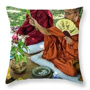 Monks Blessing Buddhist Wedding Ceremony In Cambodia Throw Pillow