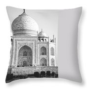 Monochrome Taj Mahal - Square Throw Pillow