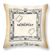 Monopoly Board Game Patent Art  1935 Throw Pillow
