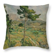 Mont Sainte-victoire And The Viaduct Of The Arc River Valley Throw Pillow