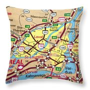 Montreal Map. Quebec. Throw Pillow