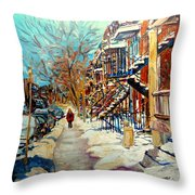 Montreal Street In Winter Throw Pillow by Carole Spandau