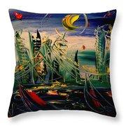 Moon City Throw Pillow