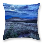 Moonlight On Stone Mountain Slope With Forest Throw Pillow
