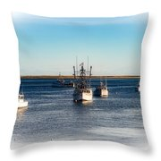 Moored In Chatham Harbor Throw Pillow