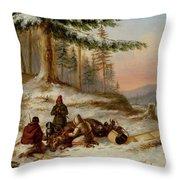 Moose Hunters Throw Pillow