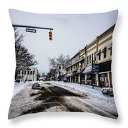 Moresville North Carolina Streets Covered In Snow Throw Pillow