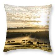 Morning At Golf Course Throw Pillow