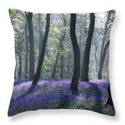 Morning Bluebells Throw Pillow