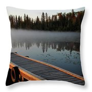 Morning Mist Over Lynx Lake In Northern Saskatchewan Throw Pillow