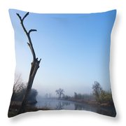 Morning On Red River Throw Pillow