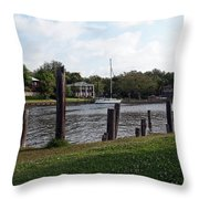 Morning On The Eau Gallie River Throw Pillow