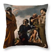 Moses And The Messengers From Canaan Throw Pillow