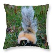 Mostly White Skunk Throw Pillow