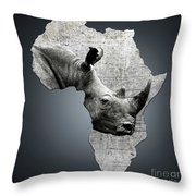 Mother Africa With A Rhino  Throw Pillow