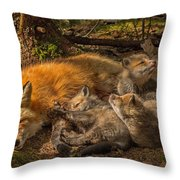 Mother Fox And Her Kits Throw Pillow