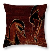 Mother Swan And Cygnet Throw Pillow
