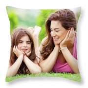 Mother With Daughter Outdoors Throw Pillow