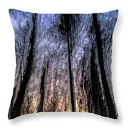 Motion Blurred Trees In A Forest Throw Pillow