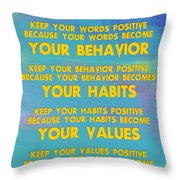 Motivational Quotes - Keep Your Words Positive - Ghandi Throw Pillow