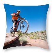 Mountain Biking The Porcupine Rim Trail Near Moab Throw Pillow