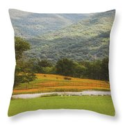 Mountain Farm With Pond In Artistic Version Throw Pillow
