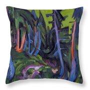Mountain Forest Path Throw Pillow
