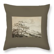 Mountainous Landscape With Three Ramblers Throw Pillow