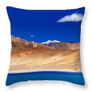 Mountains And Rocks Pangong Tso Lake Leh Ladakh Jammu Kashmir India Throw Pillow