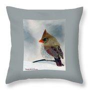 Mrs. Cardinal Throw Pillow by Tracey Goodwin
