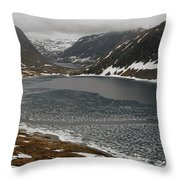Mt. Dalsnibba And The Serpentine Descent To The Geirangerfjord Throw Pillow