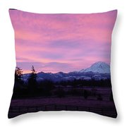 Mt Rainier Frosty Sunrise Throw Pillow