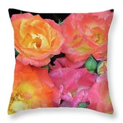 Multi-color Roses Throw Pillow