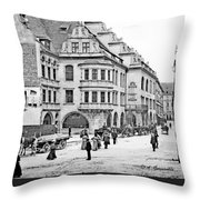 Munich, Germany, Street Scene, 1903, Vintage Photograph Throw Pillow