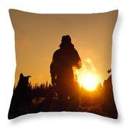 Mushers At Sunrise Throw Pillow