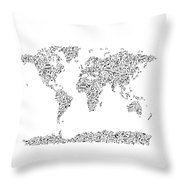 Music Notes Map Of The World Throw Pillow