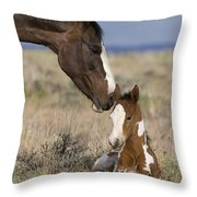 Mustang Mare And Foal Throw Pillow